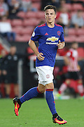 Josh Harrop of Manchester United U23's during the Under 23 Premier League 2 match between Southampton and Manchester United at St Mary's Stadium, Southampton, England on 22 August 2016. Photo by Phil Duncan.