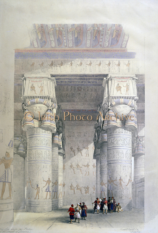 View from Under the Portico of the Temple of Dendera', c1839. Lithograph of 1856 after David Roberts (1796-1864) Scottish artist and orientalist. Ancient Egypt Archaeology Religion Mythology Ruin