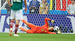MOSCOW, RUSSIA - Sunday, June 17, 2018: Mexico's goalkeeper Guillermo Ochoa makes a save during the FIFA World Cup Russia 2018 Group F match between Germany and Mexico at the Luzhniki Stadium. (Pic by David Rawcliffe/Propaganda)