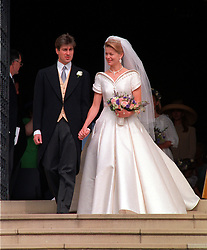 Lady Helen Windsor, daughter of the Duke and Duchess of Kent, and her  husband ,Tim Taylor, leaving St George's Chapel in Windsor Castle after their wedding ceremony.