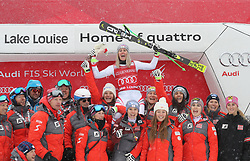 01.12.2017, Lake Louise, CAN, FIS Weltcup Ski Alpin, Lake Louise, Abfahrt, Damen, Siegerehrung, im Bild Siegerin Cornelia Huetter (AUT) mit Team // Winner Cornelia Huetter of Austria with Team during the winner Ceremony for the ladie's downhill of FIS Ski Alpine World Cup in Lake Louise, Canada on 2017/12/01. EXPA Pictures © 2017, PhotoCredit: EXPA/ SM<br /> <br /> *****ATTENTION - OUT of GER*****