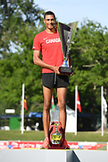 Pierce LePage (CAN) poses with trophy after winning the decathlon with 8,453 points during the decathlon at the DecaStar meeting, Saturday, June 23, 2019, in Talence, France. (Jiro Mochizuki/Image of Sport)