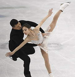 February 8, 2018 - Pyeongchang, South Korea - HAO ZHANG and XIAOYU YU of China compete Friday, February 9, 2018, in the Pairs Short Program Team event event on opening day of the Figure Skating Team competition at the Winter Olympic Games in at the Gangneung Ice Arena in Pyeongchang, S. Korea. Photo by Mark Reis, ZUMA Press/The Gazette (Credit Image: © Mark Reis via ZUMA Wire)