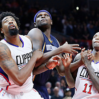 09 November 2015: Memphis Grizzlies forward Zach Randolph (50) vies for the rebound with Los Angeles Clippers center DeAndre Jordan (6) and Los Angeles Clippers guard Jamal Crawford (11) during the Los Angeles Clippers 94-92 victory over the Memphis Grizzlies, at the Staples Center, in Los Angeles, California, USA.