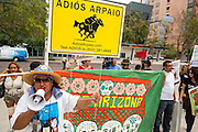 21 AUGUST 2012 - PHOENIX, AZ: Protesters picket the US federal courthouse in Phoenix. A handful of protesters waited outside the Sandra Day O'Connor Courthouse in Phoenix Wednesday while lawyers from the American Civil Liberties Union (ACLU) and Mexican American Legal Defense and Education Fund (MALDEF) sparred with lawyers from Maricopa County and the State of Arizona over the constitutionality of section 2B of SB 1070, Arizona's tough anti-immigrant law. Most of the law was struck down by the US Supreme Court in June, but the Justices let section 2B stand pending further review. The suit is being heard in District  Judge Susan Bolton's court. It was Judge Bolton who originally struck down SB 1070 in 2010. A ruling is expected later in the year.   PHOTO BY JACK KURTZ