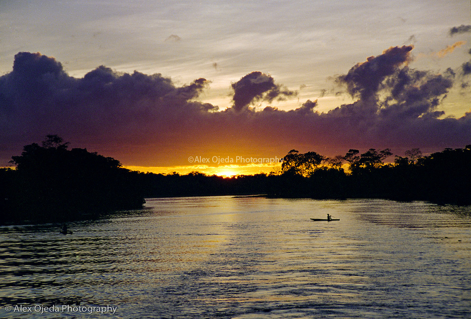 Amazon River at sunrise, Brazil