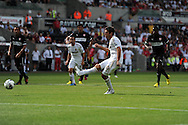 Swansea city's Danny Graham scores his sides 2nd goal from a penalty.    Pre-season friendly match, Swansea city v FC Stuttgart at the Liberty Stadium in Swansea, South Wales on Saturday 11th August 2012. pic by Andrew Orchard, Andrew Orchard sports photography,