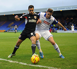 Bristol City's Sam Baldock jostles for the ball with  Tranmere Rovers' Ash Taylor - Photo mandatory by-line: Dougie Allward/JMP - Tel: Mobile: 07966 386802 16/11/2013 - SPORT - FOOTBALL - Prenton Park - Birkenhead - Tranmere v Bristol City - Sky Bet League One