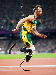 Oscar Pistorius of South Africa during the Men's 400m - T44 Final athletics competition during Day 11 of the Summer Paralympic Games London 2012 on September 8, 2012, in Olympics stadium, London, Great Britain. (Photo by Vid Ponikvar / Sportida.com)