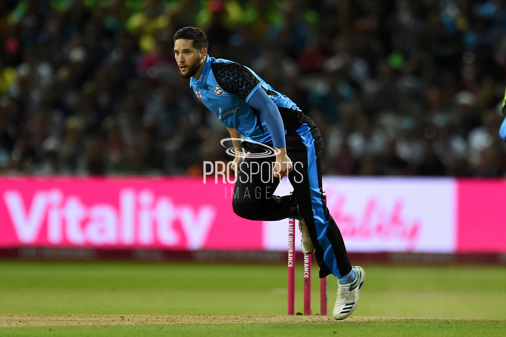 Wayne Parnell of Worcestershire Rapids bowling during the Vitality T20 Finals Day 2019 match between Worcestershire County Cricket Club and Essex County Cricket Club at Edgbaston, Birmingham, United Kingdom on 21 September 2019.