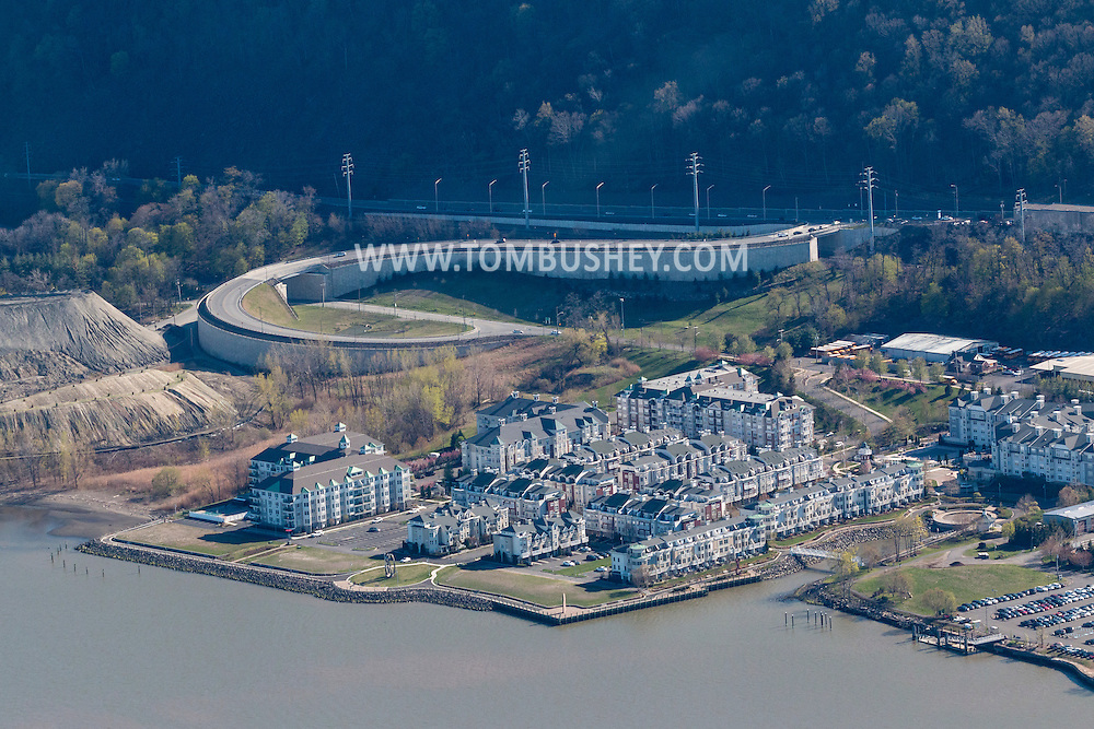 Haverstraw, New York - An aerial view of the Harbors at Haverstraw complex, including Riverside Apartments,  on the shore of the Hudson River on April 20, 2016.