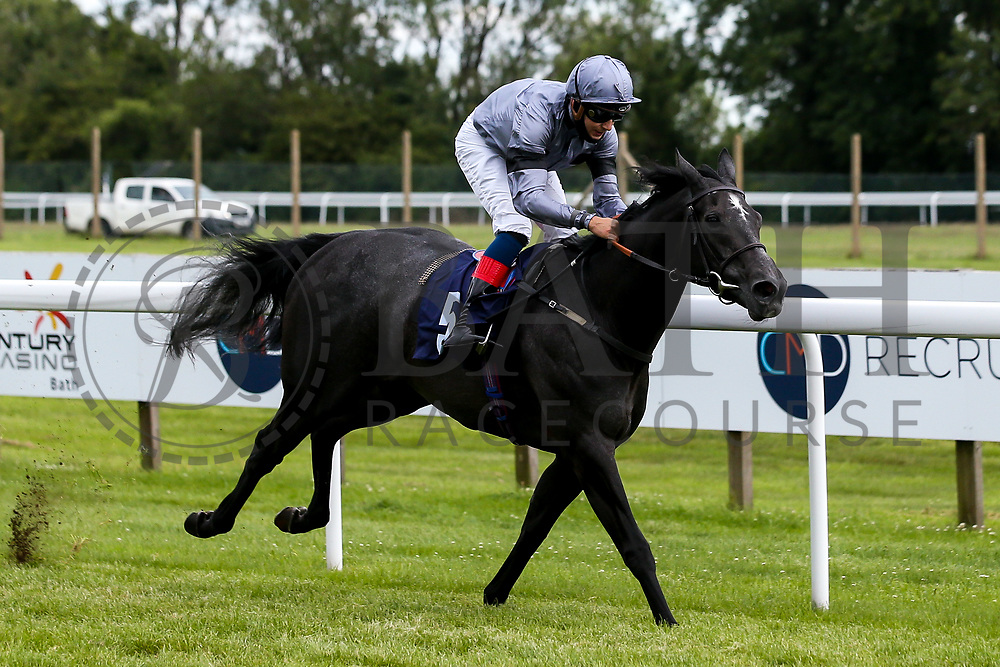 Devils Roc ridden by Gabriele Maloune and trained by Jonathan Portman wins the Signs Express Fillies Handicap - Mandatory by-line: Robbie Stephenson/JMP - 18/07/2020 - HORSE RACING- Bath Racecourse - Bath, England - Bath Races 18/07/20