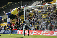 Photo: Lee Earle.<br /> Watford v Ipswich Town. Coca Cola Championship. 17/04/2006. Watford's Darius Henderson (C) heads past Ipswich keeper Lewis Price to score the opening goal.