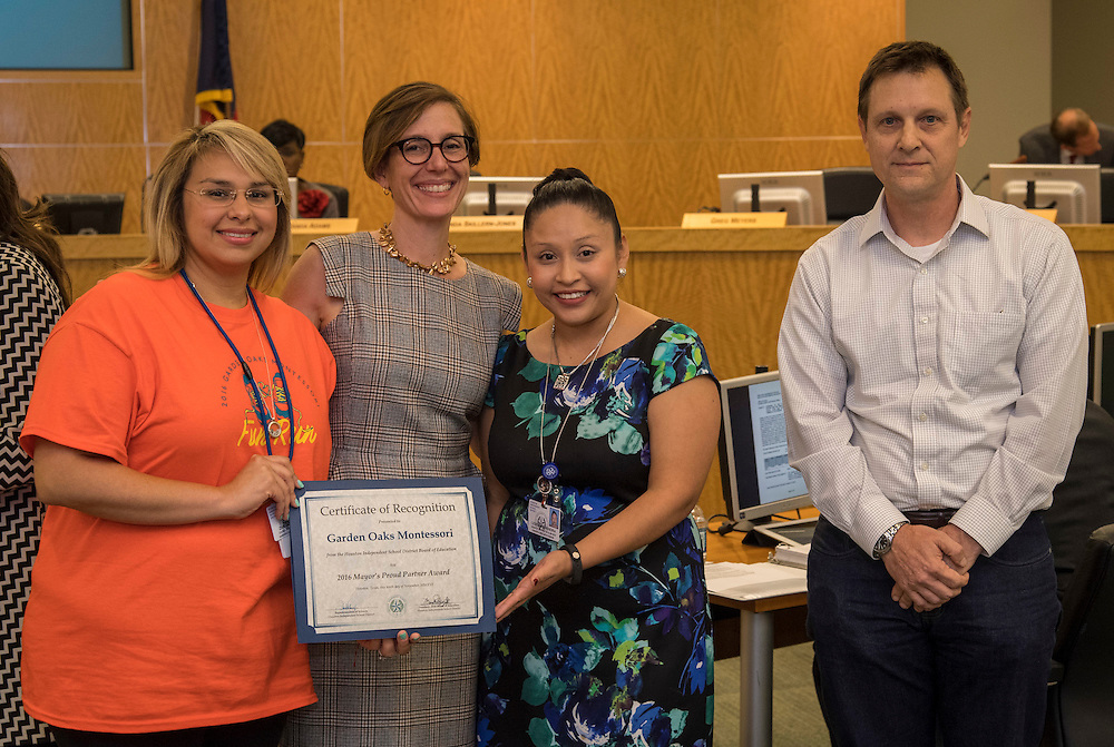 Anna Eastman recognizes staff members from Garden Oaks Montessori during the Houston ISD Board of Trustee meeting, November 10, 2016.