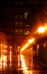 UK ENGLAND LONDON 31OCT03 - Barbican Estate by night and rainfall. ..jre/Photo by Jiri Rezac ..© Jiri Rezac 2003..Contact: +44 (0) 7050 110 417.Mobile:  +44 (0) 7801 337 683.Office:  +44 (0) 20 8968 9635..Email:   jiri@jirirezac.com.Web:     www.jirirezac.com