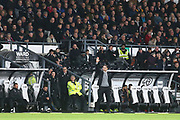 Derby County Manager Frank Lampard waves to the Derby fans during the EFL Sky Bet Championship match between Derby County and Swansea City at the Pride Park, Derby, England on 1 December 2018.
