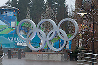 The Olympic Rings lie quiet on a misty morning in Whistler during the 2010 Olympic Winter Games in Whistler, BC Canada