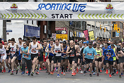 May 12, 2019 - Toronto, ON, Canada - TORONTO, ON - MAY 12  - Runners start the Sporting Life 10k for Camp Ooch on Yonge St and Davisville Ave., May 12, 2019. Andrew Francis Wallace/Toronto Star (Credit Image: © Andrew Francis Wallace/The Toronto Star via ZUMA Wire)