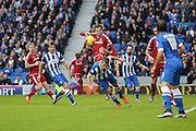 Middlesbrough FC striker Christian Stuani battles for the ball during the Sky Bet Championship match between Brighton and Hove Albion and Middlesbrough at the American Express Community Stadium, Brighton and Hove, England on 19 December 2015. Photo by Phil Duncan.