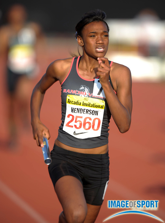 Apr 6, 2012; Arcadia, CA, USA; Lauren Henderson runs the third leg on the Rancho Verde girls 4 x 200m relay that placed third in the rated race in 1:43.00 in the Arcadia Invitational at Arcadia High.