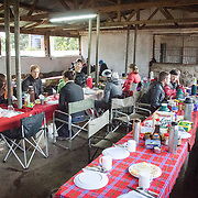 The dining area at the Simba Campsite on the rim of the Ngorongoro Crater in the Ngorongoro Conservation Area, part of Tanzania's northern circuit of national parks and nature preserves.