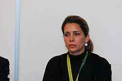 HRH Princess Haya (JOR)<br /> Pressconference concerning disqualification of McLain Ward's horse Sapphire due to a positive Hypersensitivity test after the second competion of the Rolex FEI World Cup Final - Geneve 2010<br /> © Dirk Caremans