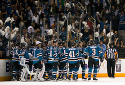 April 16, 2010; San Jose, CA, USA; San Jose Sharks celebrate after scoring a goal against the Colorado Avalanche during the overtime period of game two in the first round of the 2010 Stanley Cup Playoffs at HP Pavilion. The Sharks defeated the Avalanche 6-5 in overtime. Mandatory Credit: Jason O. Watson / US PRESSWIRE
