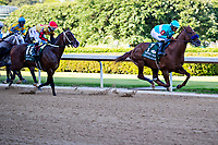 HOT SPRINGS, AR - MAY 02:  Jockey Martin Garcia rides #1 Charlatan to the lead during the 84th running of The Arkansas Derby Grade 1 at Oaklawn Racing Casino Resort on Derby Day during the Covid-19 Pandemic on May 2, 2020 in Hot Springs, Arkansas. (Photo by Wesley Hitt/Getty Images)