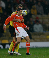 Photo: Richard Lane/Richard Lane Photography. Watford v Blackpool. Coca Cola Championship. 01/11/2008. Alan Gow (front) is grappled by Darren Ward (rear)
