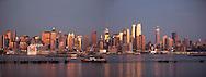 New York.  Manhattan  skyline Midtown, times square buildings and hudson river , New York - United states  / le skyline de Manhattan Midtown , la ligne des gratte ciel de time square,  New York - Etats-unis