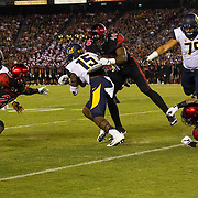 10 September 2016: The San Diego State Aztecs football team hosts Cal in their second game of the season.  San Diego State linebacker Randy Ricks (40) helps create a turnover on a tackle in the first quarter. The Aztecs lead 31-21 at halftime.
