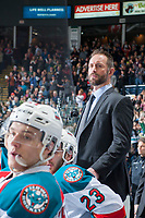 KELOWNA, CANADA - APRIL 14: Kelowna Rockets' head coach Jason Smith stands on the bench against the Portland Winterhawks on April 14, 2017 at Prospera Place in Kelowna, British Columbia, Canada.  (Photo by Marissa Baecker/Shoot the Breeze)  *** Local Caption ***