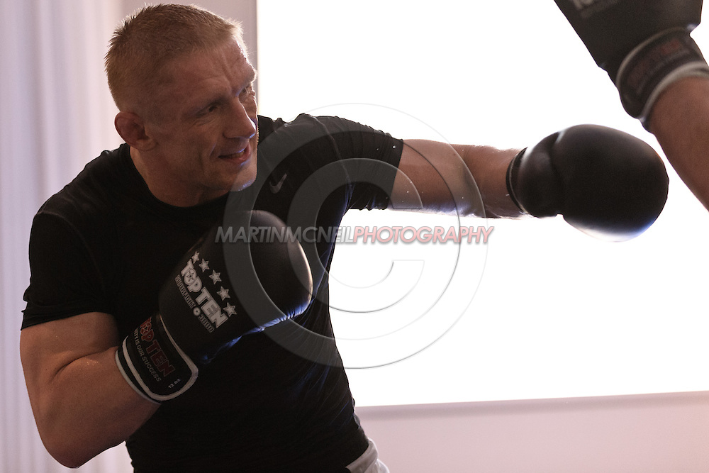 SYDNEY, AUSTRALIA, FEBRUARY 2011: UFC lightweight division fighter Dennis Siver trains wtih coach Nico Sulenta (not pictured) ahead of his fight with George Sotiropoulos at UFC 127.