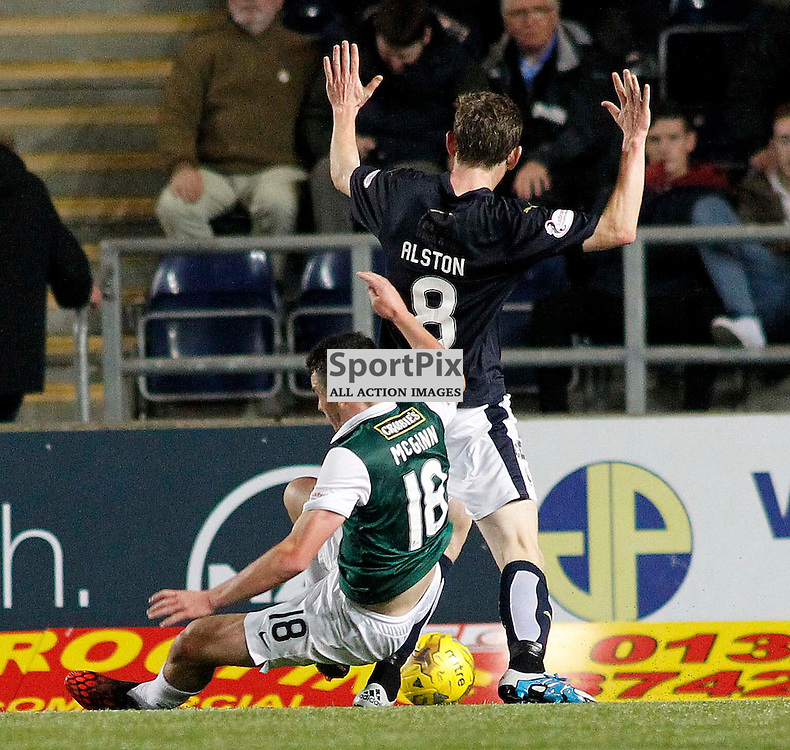 Bair Alston fould John McGinn to give Hibs a penalty<br /> in the Scottish Championship Match at the Falkirk Stadium(c) Andrew West | SportPix.org.uk