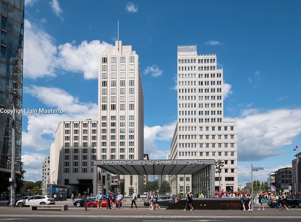 View of modern buildings wth Ritz Carlton Hotel on left at Potsdamer Platz in Berlin Germany