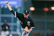 HOUSTON, TX - SEPTEMBER 19: Chicago White Sox relief pitcher Danny Farquhar (43) delivers the pitch in the eighth inning during an MLB game between the Houston Astros and the White Sox at Minute Maid Park, Tuesday, September 19, 2017. Houston Astros defeated Chicago White Sox 3-1. (Photo by Juan DeLeon/Icon Sportswire)
