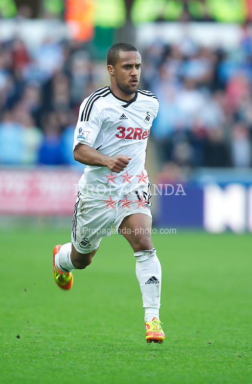 SWANSEA, WALES - Sunday, March 11, 2012: Swansea City's Wayne Routledge in action against Manchester City during the Premiership match at the Liberty Stadium. (Pic by David Rawcliffe/Propaganda)