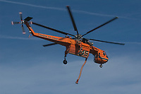 Canadian Air Crane Forest Fire helicopter tin flight, Comox, Vancouver Island, Canada