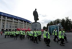 June 14, 2018 - Moscow, Russia - Group A Russia v Saudi Arabia - FIFA World Cup Russia 2018.Stewards near the Lenin statue at Luzhniki Stadium in Moscow, Russia on June 14, 2018..Photo Matteo Ciambelli / NurPhoto  (Credit Image: © Matteo Ciambelli/NurPhoto via ZUMA Press)