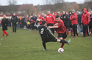 A large crowd watch Fintry Athletic (red and black) last 16 Scottish Cup clash with Medda Sports - Dundee Sunday Amateur Football<br /> <br />  - &copy; David Young - www.davidyoungphoto.co.uk - email: davidyoungphoto@gmail.com