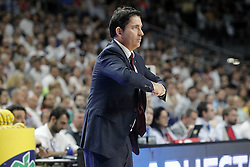 21.06.2015, Palacio de los Deportes, Madrid, ESP, Liga Endesa, Real Madrid vs Barcelona, Finale, 2. Spiel, im Bild FC Barcelona's coach Xavi Pascual // during the second match of Liga Endesa final's between Real Madrid vs Barcelona at the Palacio de los Deportes in Madrid, Spain on 2015/06/21. EXPA Pictures © 2015, PhotoCredit: EXPA/ Alterphotos/ Acero<br /> <br /> *****ATTENTION - OUT of ESP, SUI*****