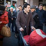 Lega Nord © Flavio Gilardoni-EffeEmmE<br /> <br /> 03/02/2013 Presentazione dei candidati lombardi della Lega Nord al Teatro Nazionale di Piazza San Babila a Milano. Matteo Salvini<br /> <br /> Lega Nord party show his candidates of Lombardy.