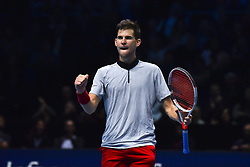 November 15, 2018 - London, England, United Kingdom - Dominic Thiem of Austria celebrates his victory during his round robin match against Kei Nishikori of Japan during Day Five of the Nitto ATP Finals at The O2 Arena on November 15, 2018 in London, England. (Credit Image: © Alberto Pezzali/NurPhoto via ZUMA Press)