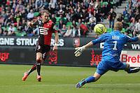 Ola TOIVONEN / Jonas LOSSL - 12.04.2015 - Rennes / Guingamp - 32eme journee de Ligue 1 <br />Photo : Vincent Michel / Icon Sport