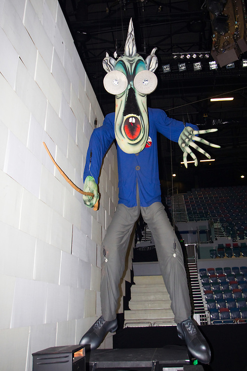 The Teacher, one of three inflatables in a behind the scenes look at the set of Roger Waters' The Wall, Vector Arena, Auckland, New Zealand, Saturday, February 18, 2012.   Credit: SNPA / David Rowland