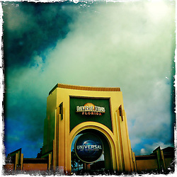 Entrance to Universal Studios at their Orlando Resort. Orlando holiday 2012. Photo taken with the Hipstamatic photo application on Apple iPhone 4.