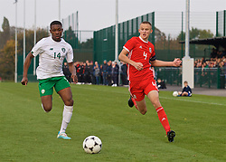 WREXHAM, WALES - Wednesday, October 30, 2019: Republic of Ireland's Edwin Agbaje (L) and Wales' captain Zak Williams during the 2019 Victory Shield match between Wales and Republic of Ireland at Colliers Park. (Pic by David Rawcliffe/Propaganda)