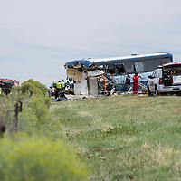A semi-tractor trailer traveling on I-40 eastbound had a tire blowout and crossed over into westbound lane, resulting in a collision with a Greyhound bus traveling to Los Angeles, CA. The incident occurred in Thoreau, NM Thursday afternoon. The accident killed at least seven people, according to New Mexico State Police.