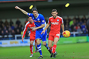 Peter Vincenti, Jay O'Shea during the Sky Bet League 1 match between Rochdale and Chesterfield at Spotland, Rochdale, England on 9 January 2016. Photo by Daniel Youngs.
