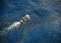 MILPHOG: An aerial images of the Deepwater Horizon oil spill taken from a U.S. Coast Guard HC-144 aircraft. The flight was conducted primarily an opportunity for media support and to plot the locations of the Deepwater Horizon oil spill.  The Coast Guard, working in partnership with British Petroleum, community volunteers, and other federal agencies are working to prevent the spread of oil following the April 20 explosion on the Mobile Offshore Drilling Unit Deepwater Horizon.